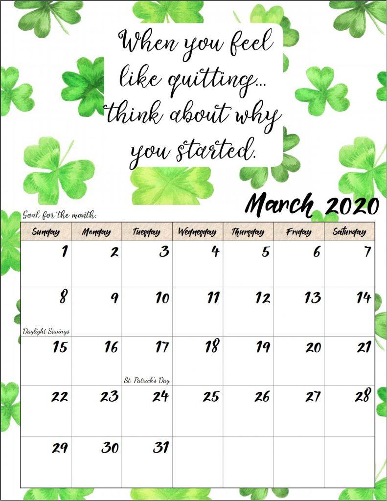 Inspiring March 2020 Quotes Calendar