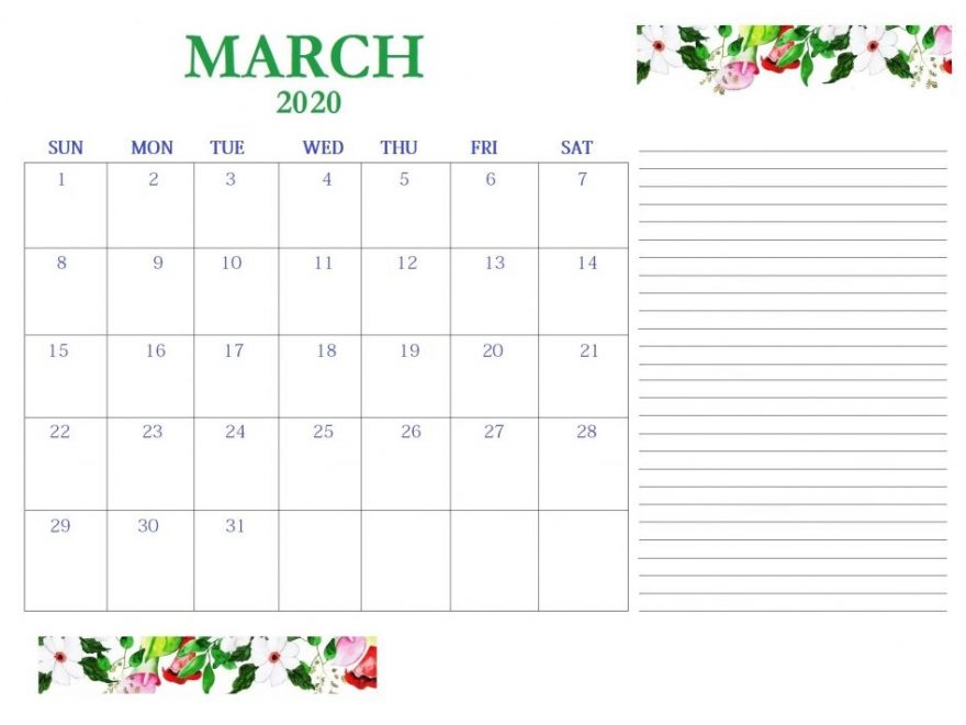 March 2020 Desk Calendar With Notes