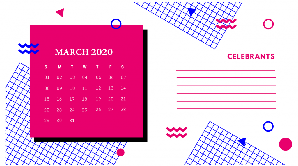 March 2020 Office Table Calendar