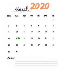 March 2020 Wall Calendar To Print