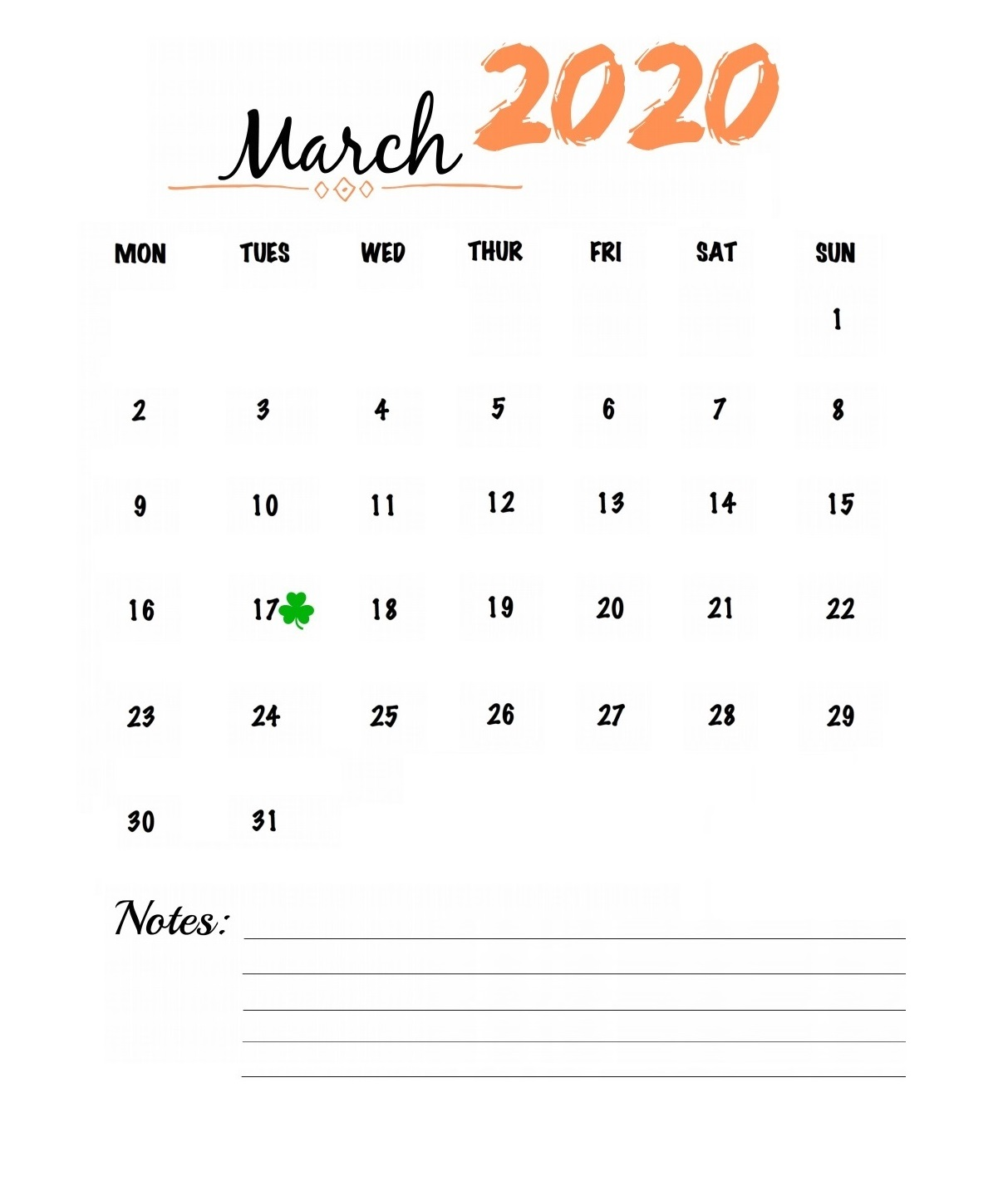 March 2020 Wall Calendar To Print