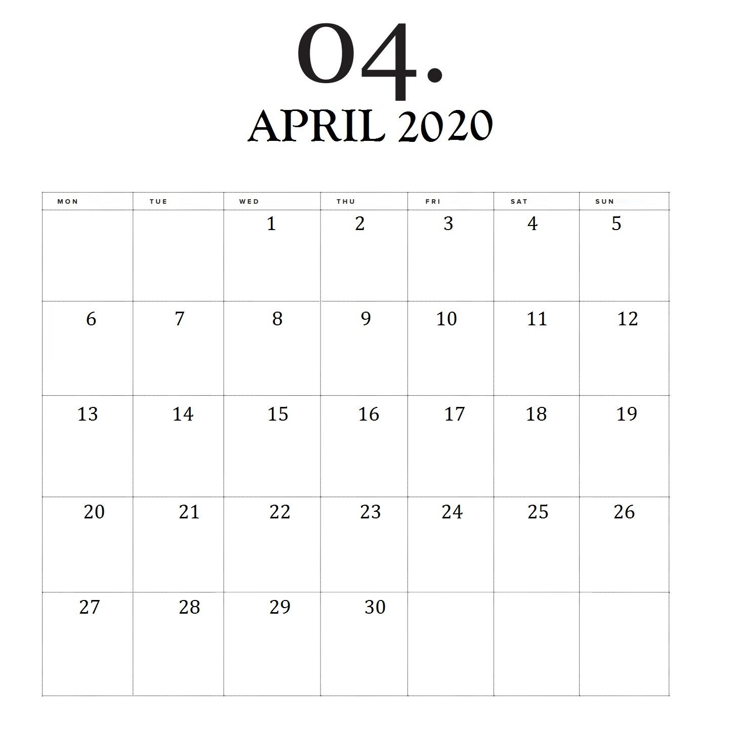 Minimal April 2020 Calendar
