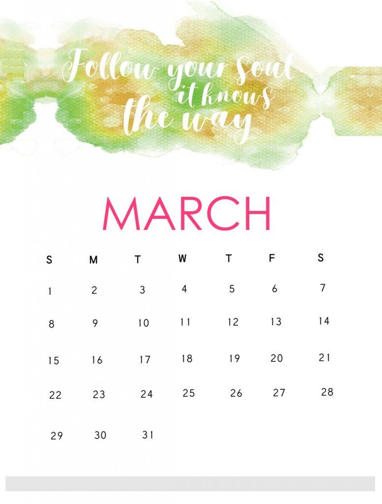 Motivational March 2020 Wall Calendar