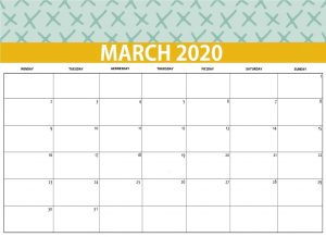 Printable March 2020 Desk Calendar