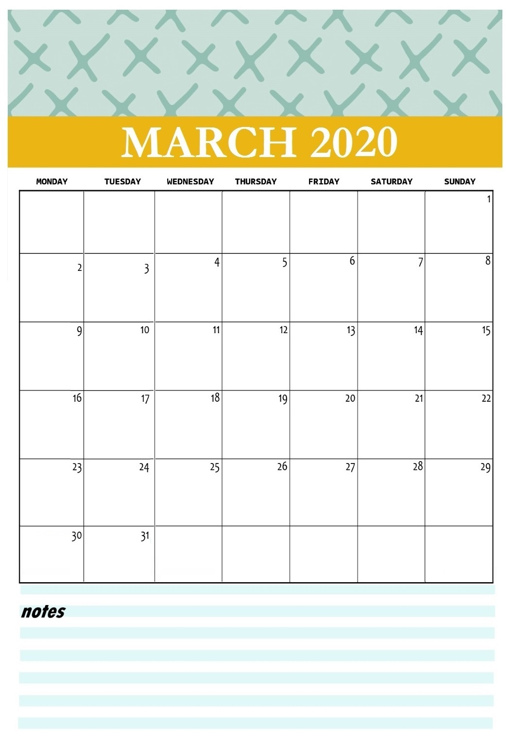 Printable March 2020 Wall Calendar
