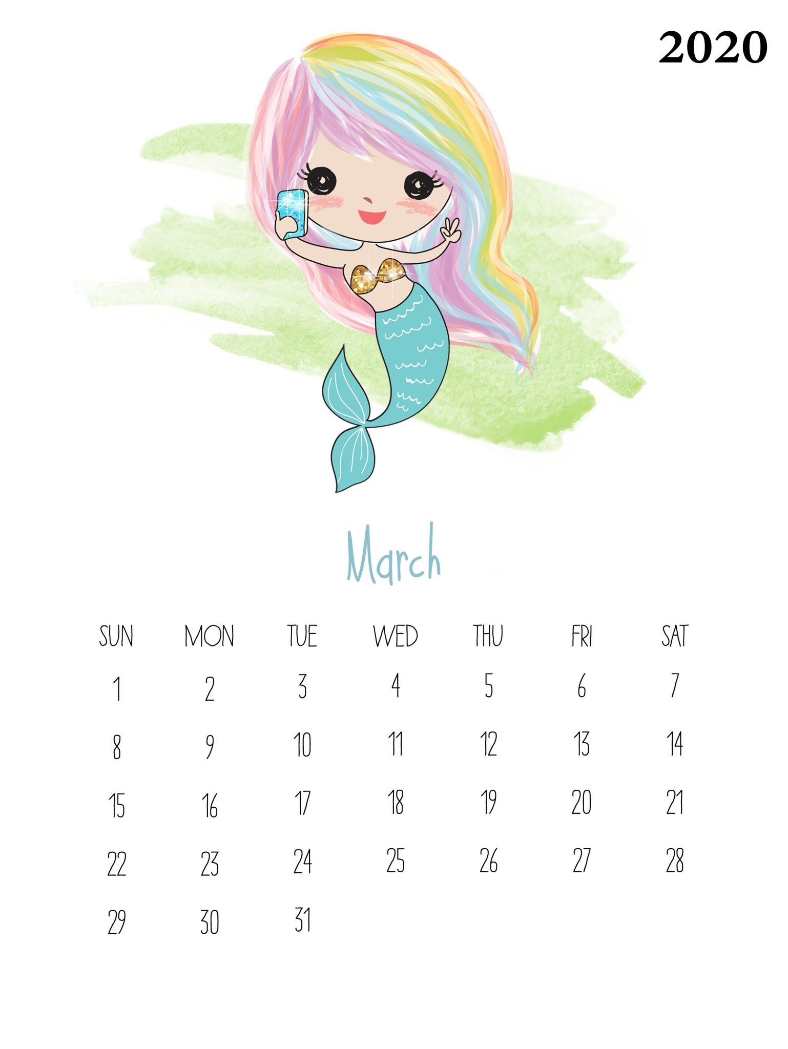 Watercolor March 2020 Wall Calendar