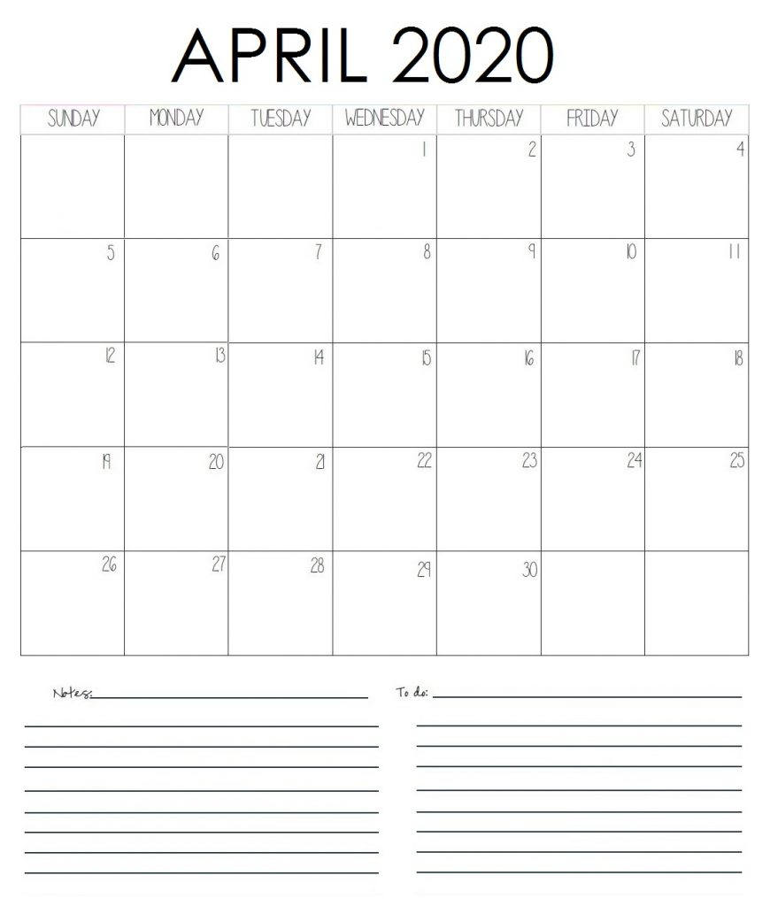 April 2020 Blank Planner With Notes