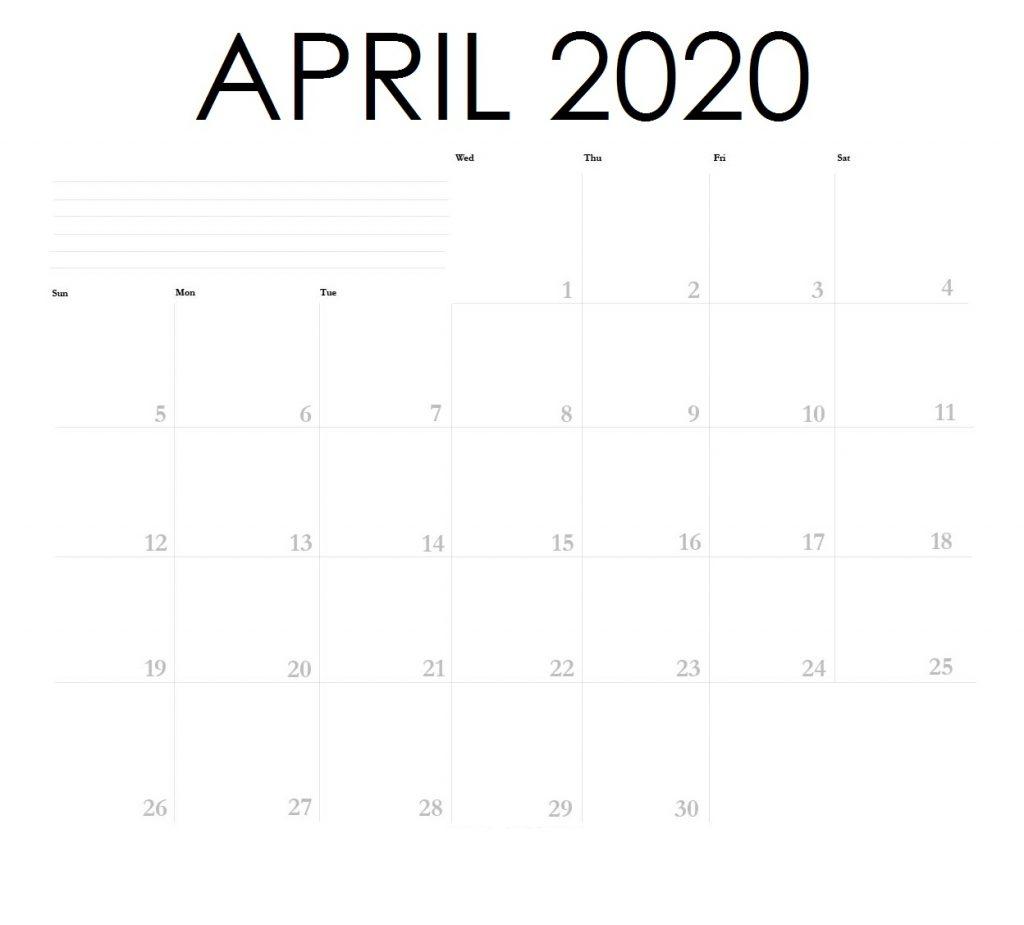 April 2020 Blank Planner