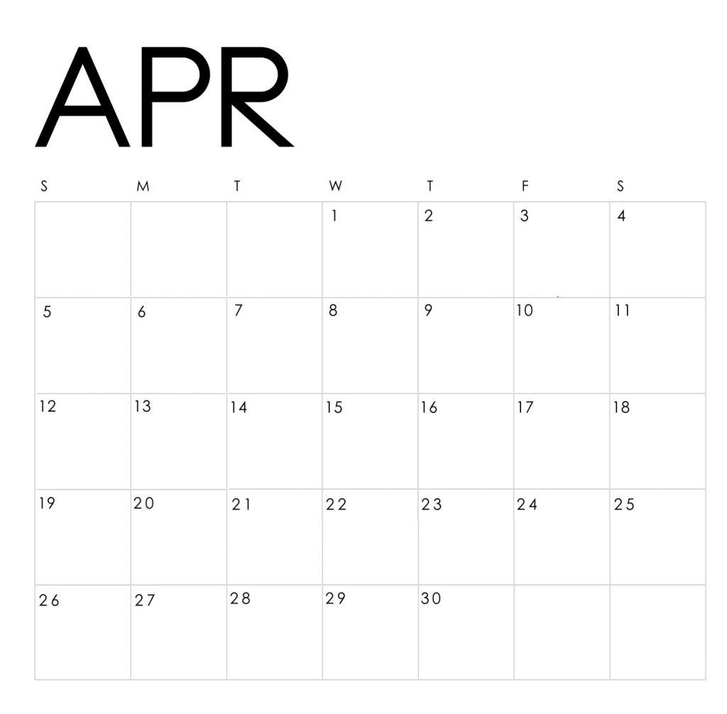 April 2020 Blank Template