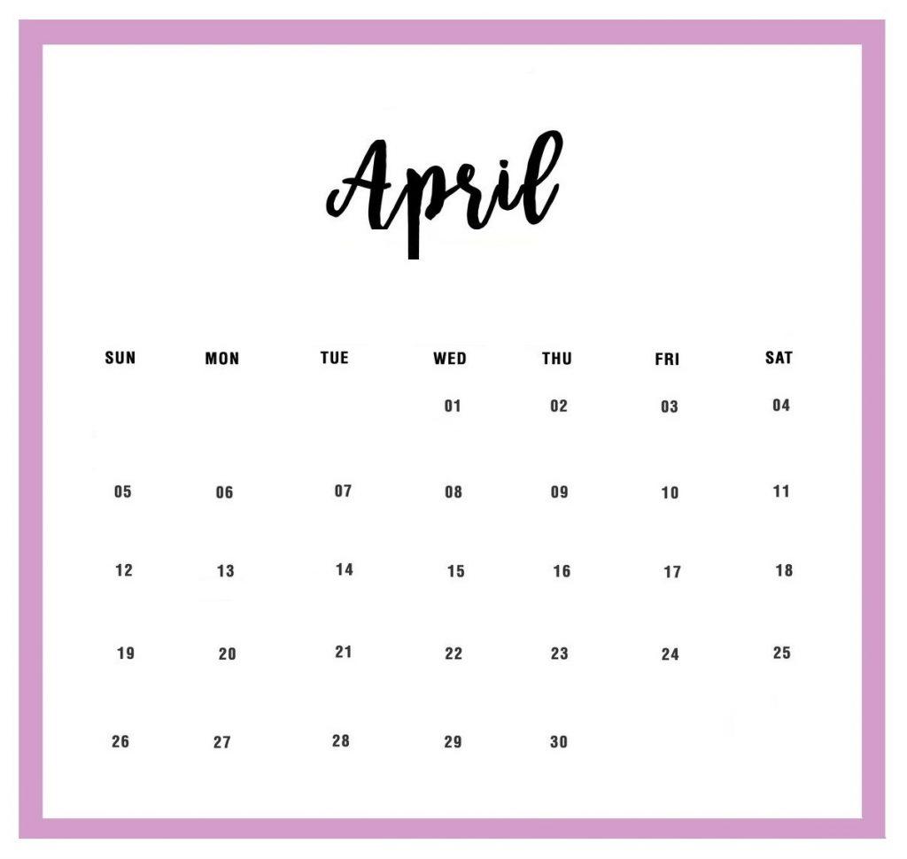 April 2020 Daily Planner Calendar