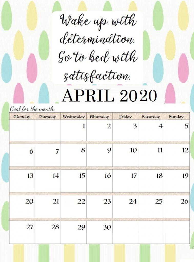 April 2020 Quotes Calendar