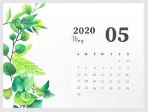 Beautiful May 2020 Desk Calendar