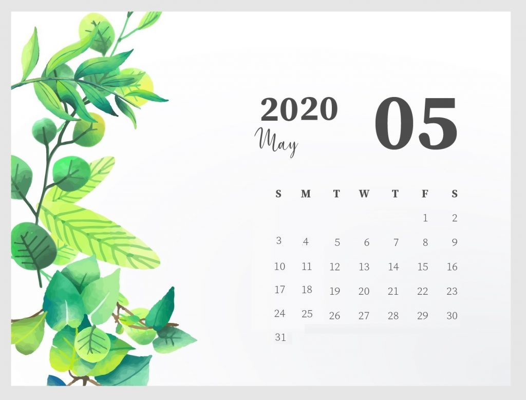 Beautiful May 2020 Desk Calendar