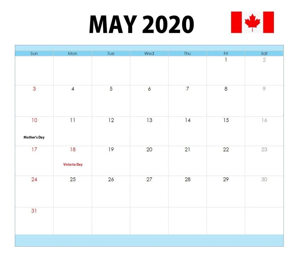 Canada May 2020 Holidays Calendar