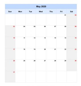 Customized May 2020 Calendar