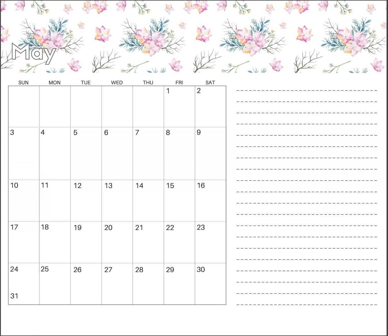 Cute May 2020 Calendar Design