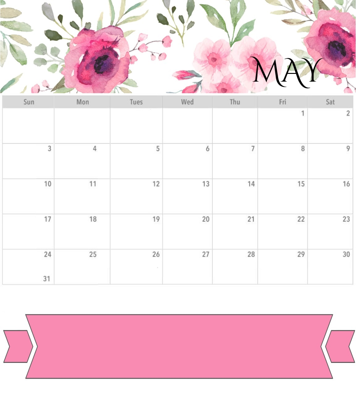 Cute May 2020 Watercolor Calendar