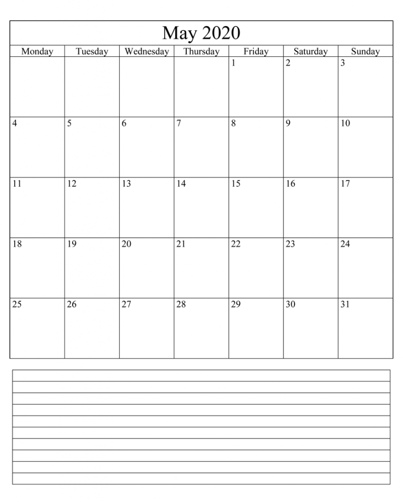 Editable May 2020 Calendar With Notes