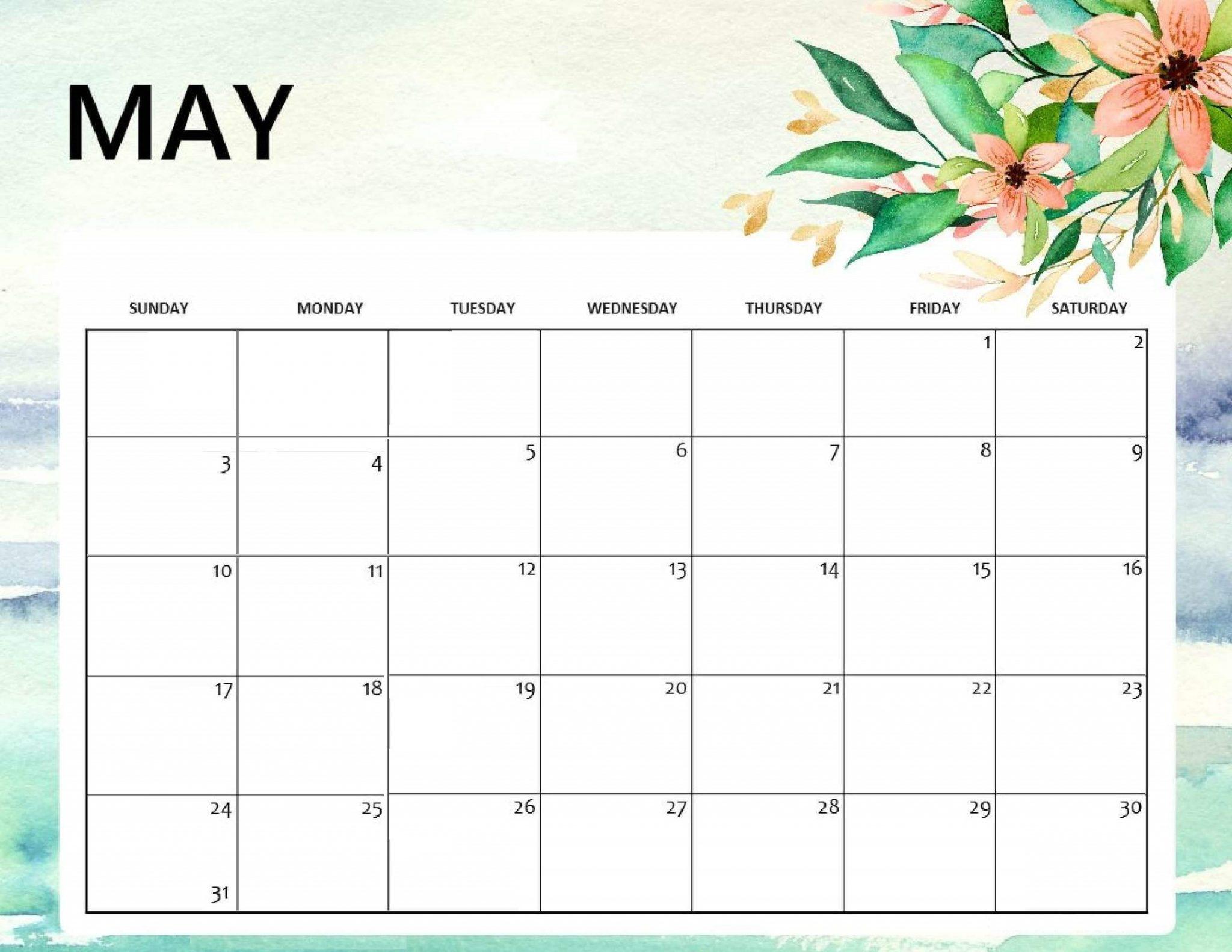 Floral May 2020 Cute Calendar