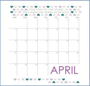 Free April 2020 Quotes Calendar