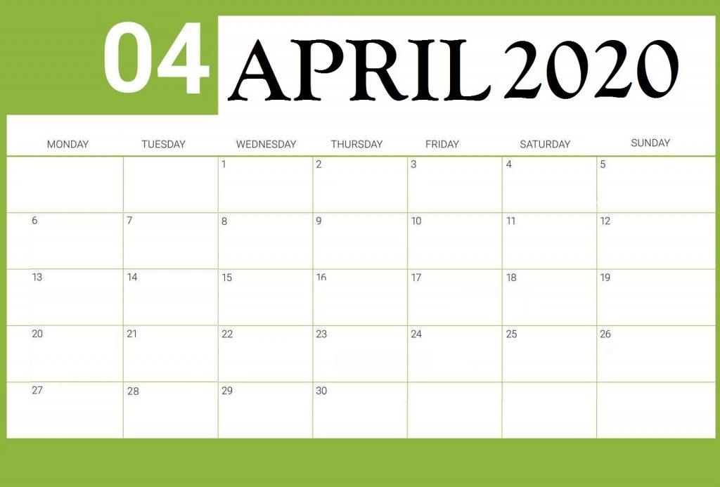 Free April 2020 Weekly Planner