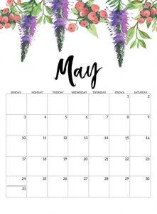 Free May 2020 Cute Calendar