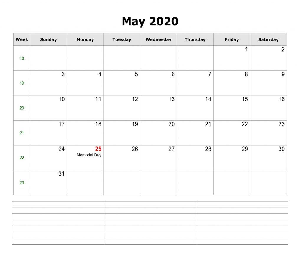 Free May 2020 Editable Calendar