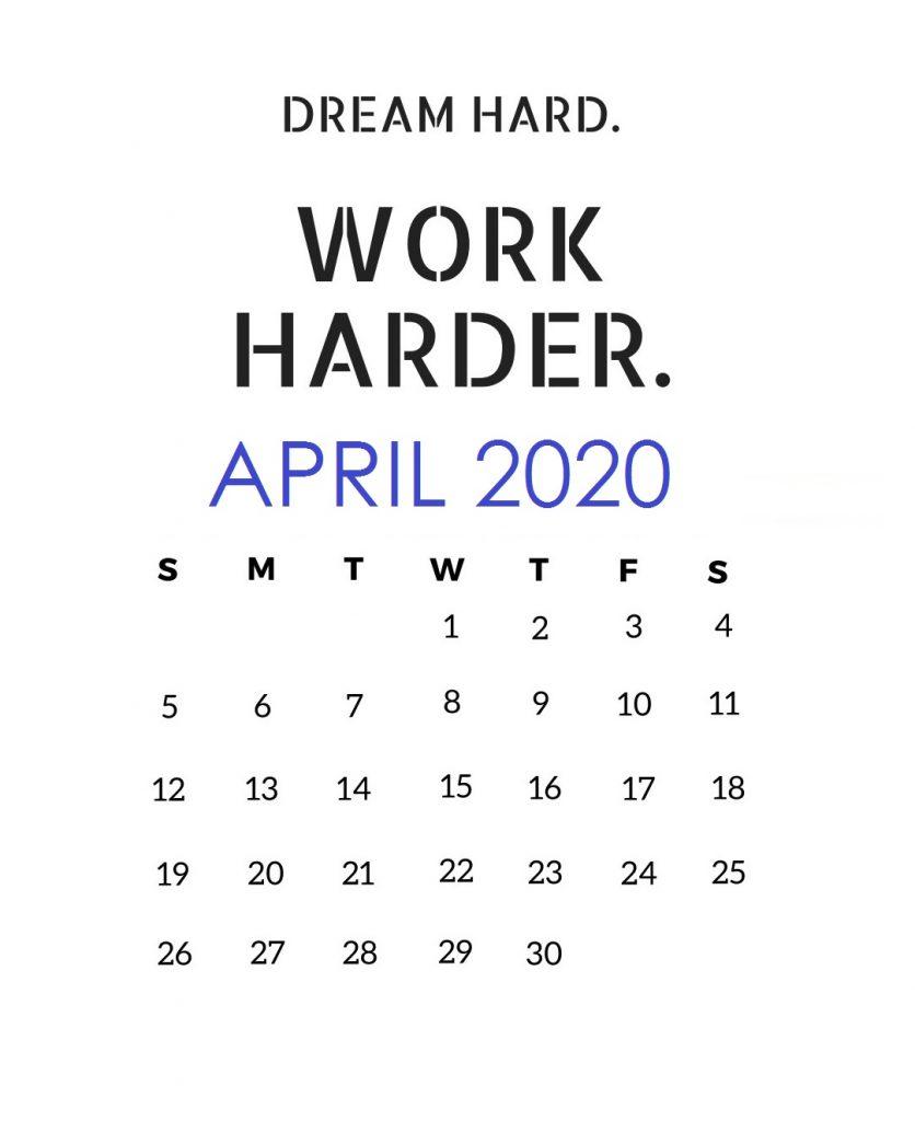 Inspiring April 2020 Quotes Calendar