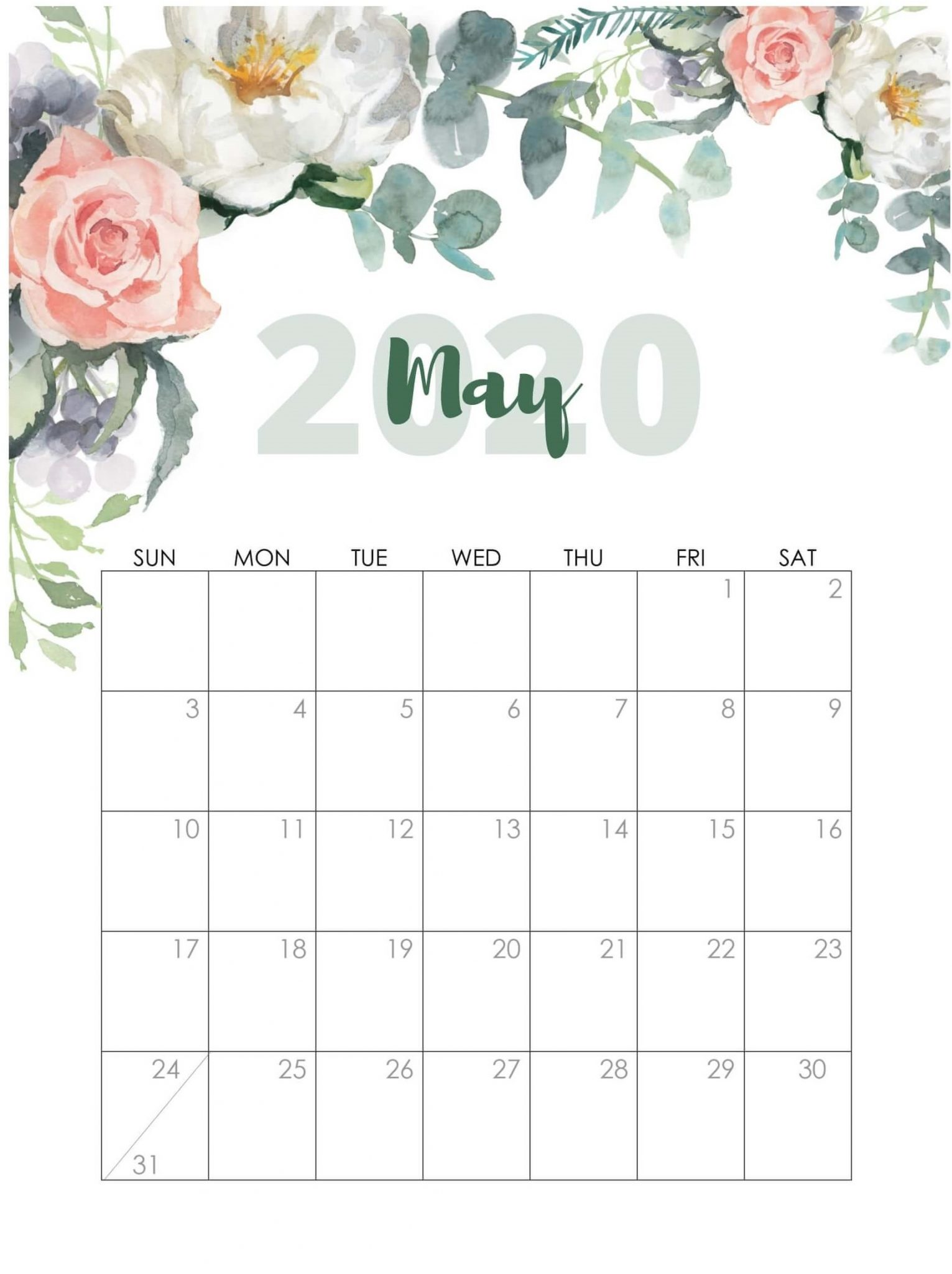 Latest May 2020 Cute Calendar