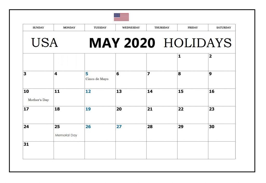 May 2020 Calendar USA