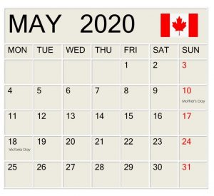 May 2020 Canada Federal Holidays Calendar