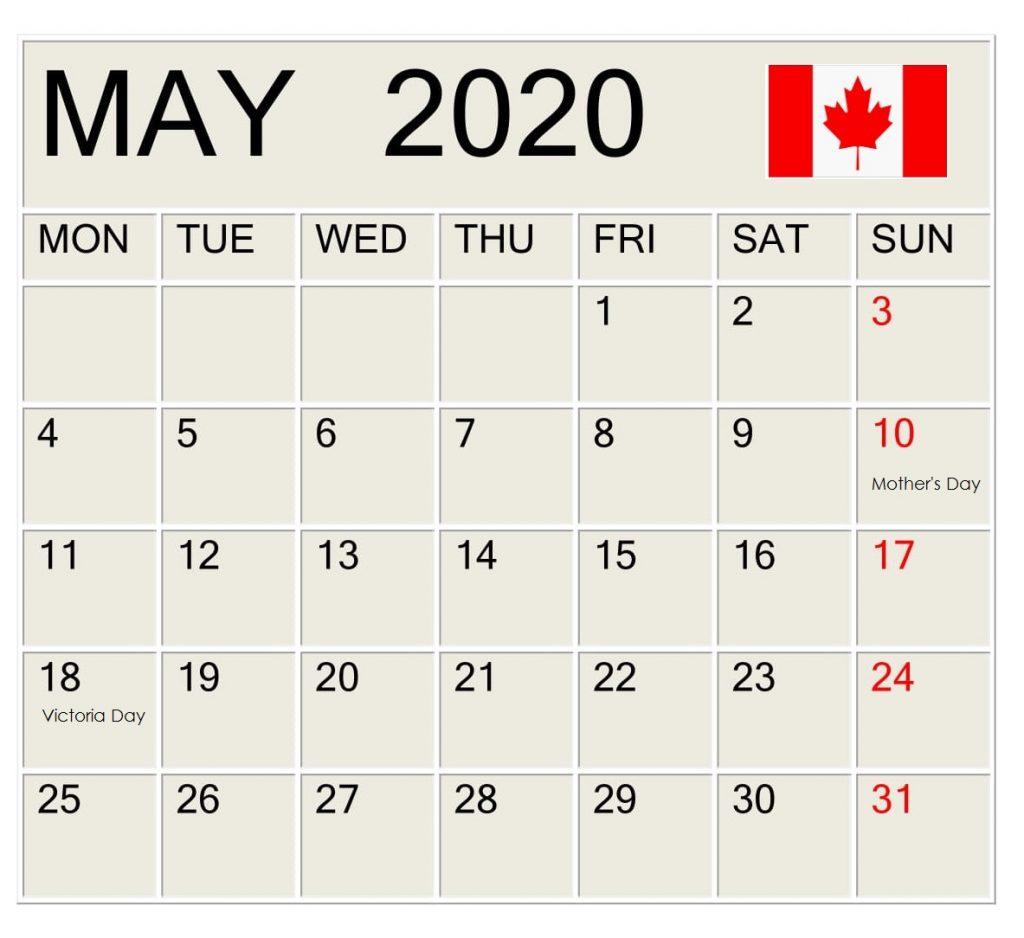 May 2020 Canada Federal Holidays Calendar