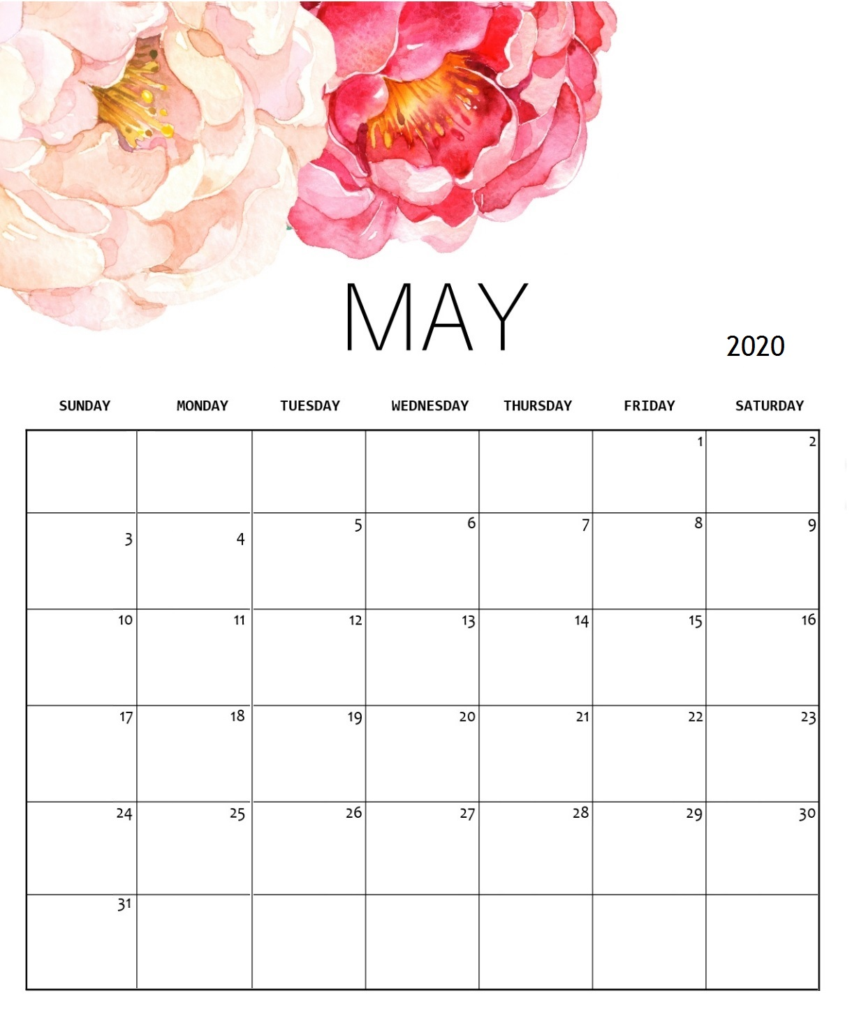 May 2020 Cute Background Calendar