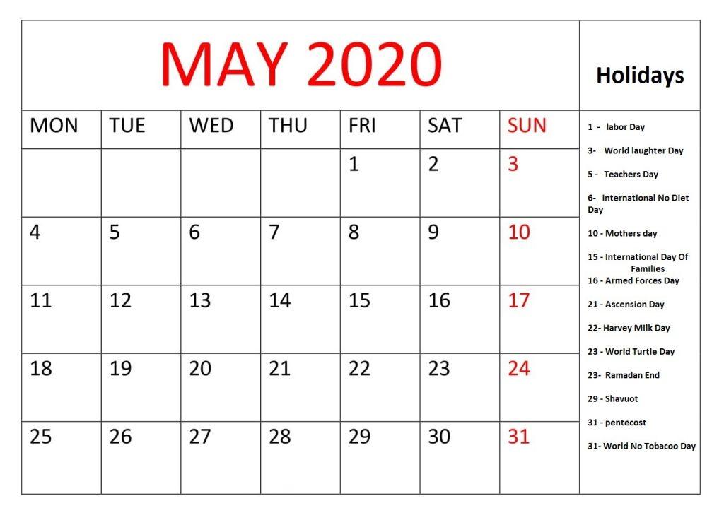 May 2020 Editable Template