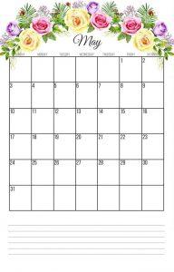 May 2020 Floral Wall Calendar