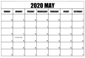 May 2020 School Holidays Calendar