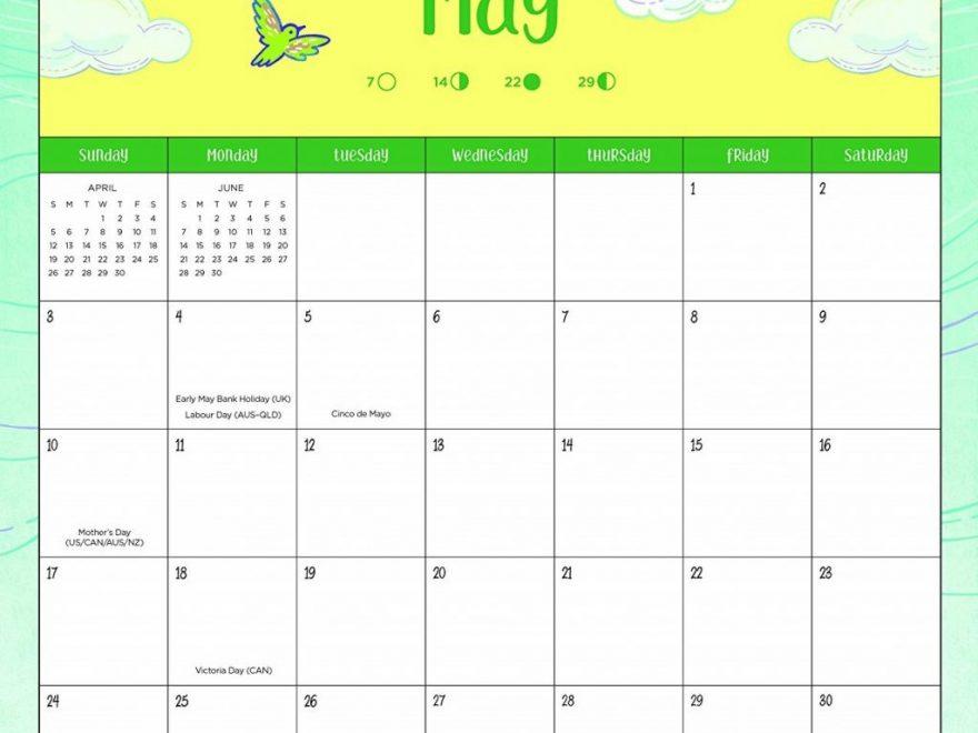 May 2020 Table Calendar