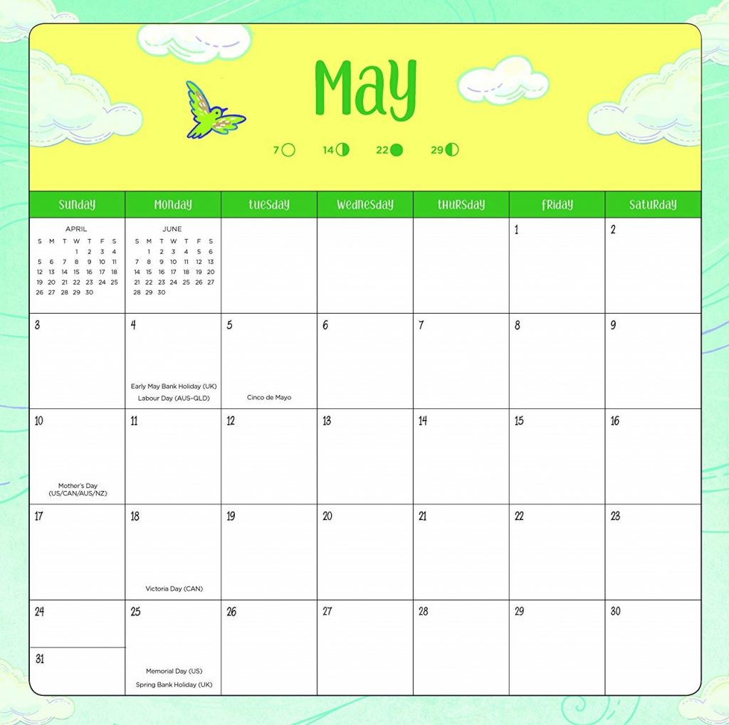 May 2020 Table Calendar