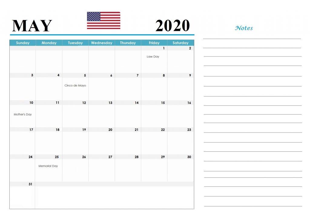 May 2020 USA Federal Holidays Calendar