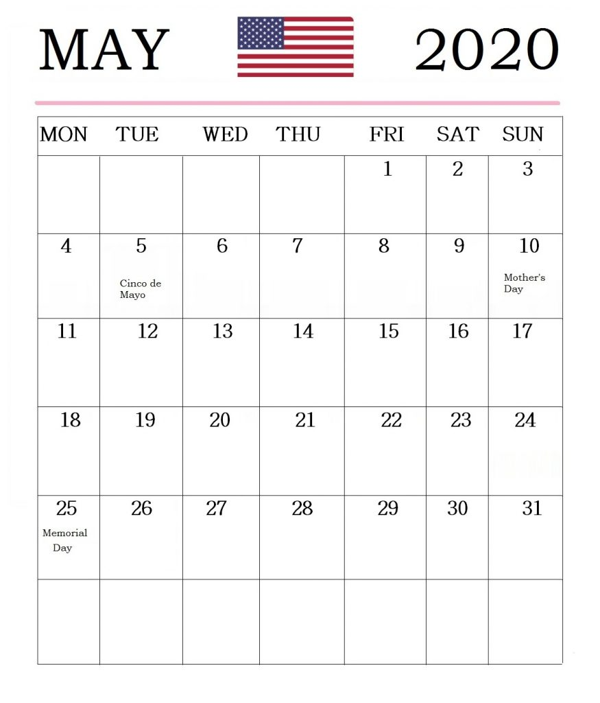 May 2020 USA Holidays Calendar