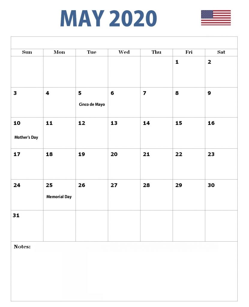 May 2020 United States Holidays Calendar