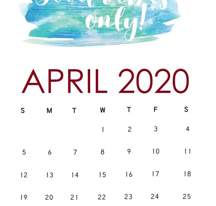 Motivational April 2020 Calendar Template