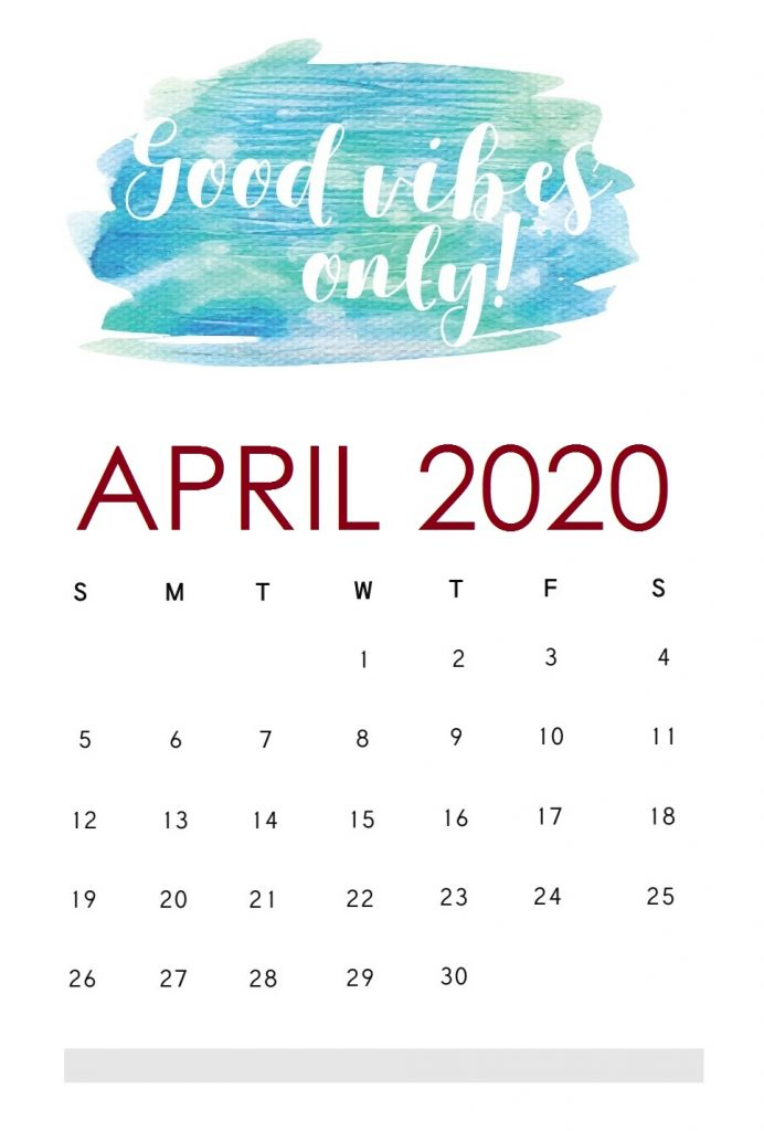 Motivational April 2020 Calendar Template