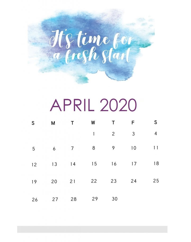 Motivational April 2020 Saying Lines Calendar