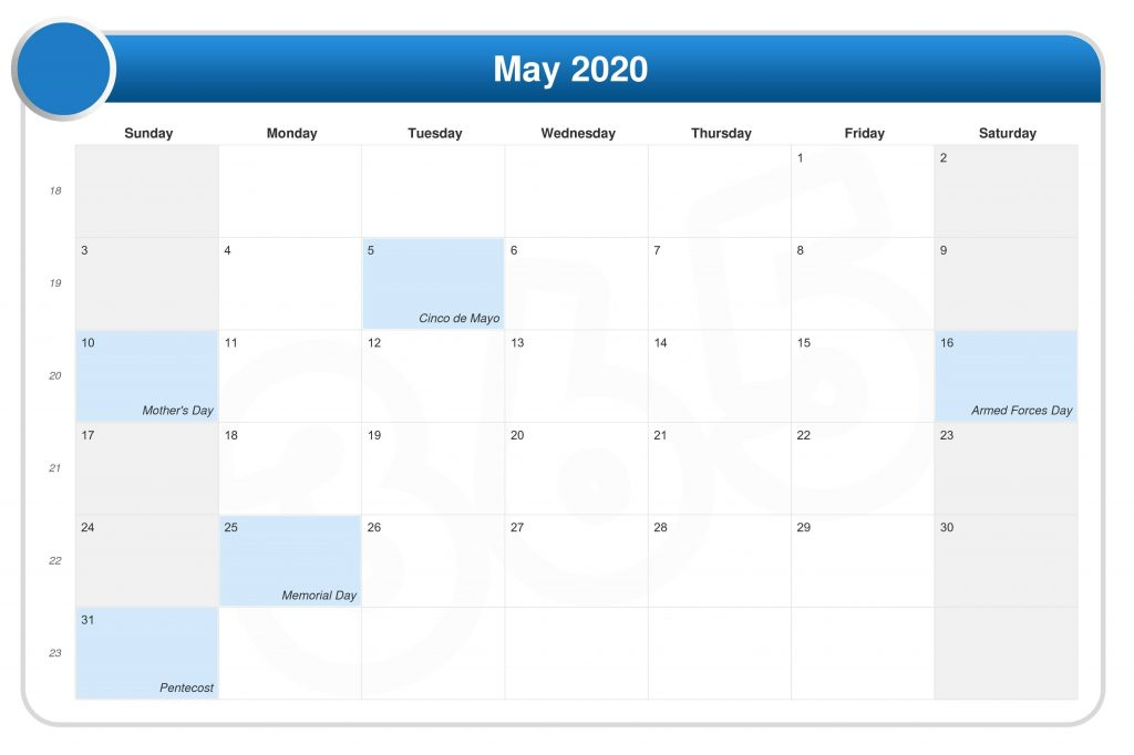 Personalized May 2020 Calendar