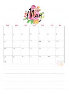 Pretty May 2020 Calendar