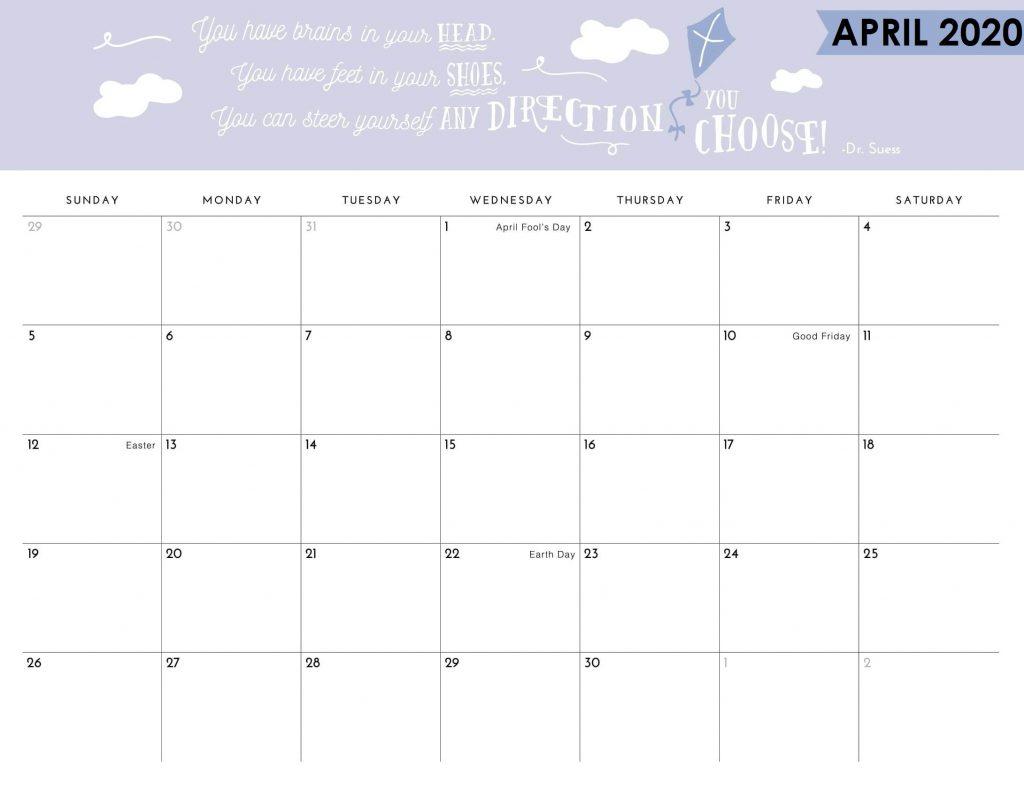 Print April 2020 Quotes Calendar