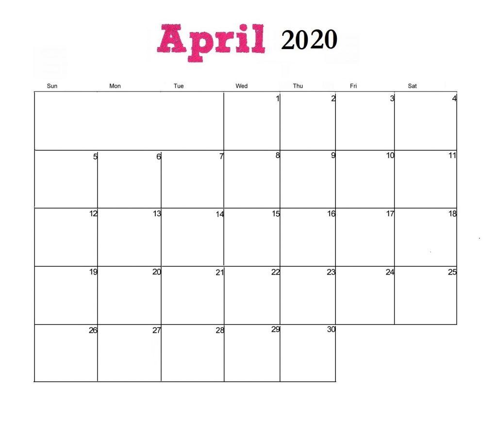 Printable April 2020 Blank Calendar
