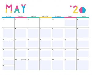Printable May 2020 Cute Calendar
