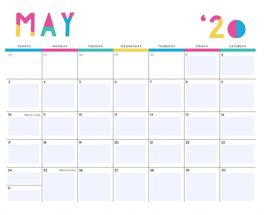 Printable May 2020 Cute Calendar